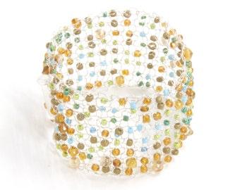Silver Wire Knit Bracelet - Silver Mesh Bracelet - Birthday Cuff Bracelet - Rustic Cuff Bracelet - Braided Bracelet - Handmade Wire Bracelet