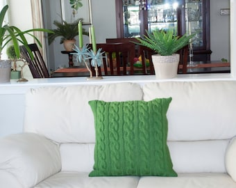 Kelly Green Pillow Case 20X20 Square Pillow Knit Pillow Cable Pillow Case