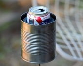 Large Hobo Tin Can Beer Holder, Outdoor Drink Holder, 10 Year Anniversary Gift for Men, Wine Bottle Holder, Drink Stake, 10th Anniversary