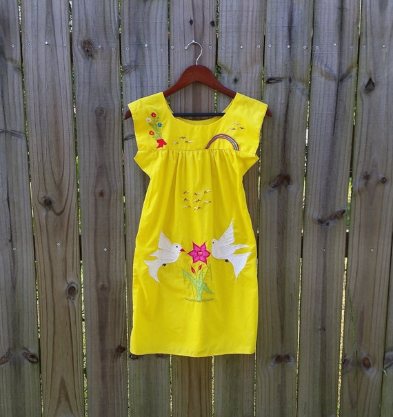 Girls Child's Vintage Huipil Yellow Ethnic Embroidered Dove Rainbow Flowers Tunic Festival Summer Boho Hippie Shift Dress