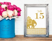 Elephant Table Number Cards - REAL Gold Foil Table Numbers - Gold Foil Wedding Decorations  - Wedding Table Numbers PRINTED For You
