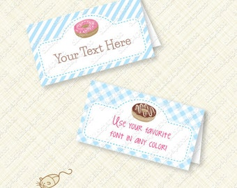 Doughnut Party Buffet Card Printable Tent editable text donut instant download place card placecard stripes gingham pink blue treat bag pdf