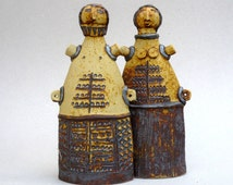 "Ceramic Sculpture ,Primitive Art ,  ""Cycladic Couple"" , Mediterranean , Tribal Art"
