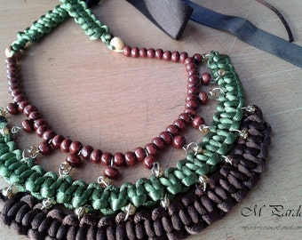 Necklace - braided dark brown-olive green rat tail with wooden beads