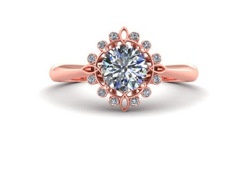 Celtic  Rose Gold Half Carat Round Diamond Engagement Ring
