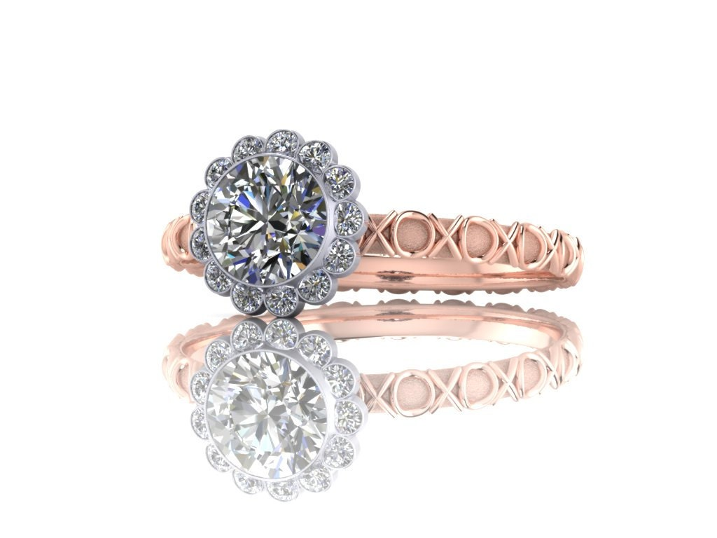 Xs and Os 14K Gold Diamond Engagement Ring with Half Carat