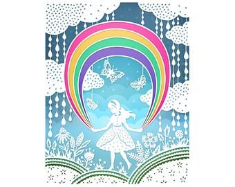 Rainbow - 5x7 Print - Original Papercut Illustration - Fine Art Print