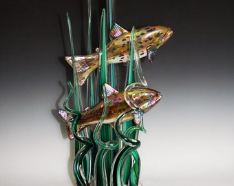 BrownTrout Swimming in River Grass - Hand Blow Glass Sculpture - Large