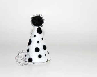 101 Dalmations Party Hat // Cruella Mini Party Hat // Ready to Ship // by Born TuTu Rock