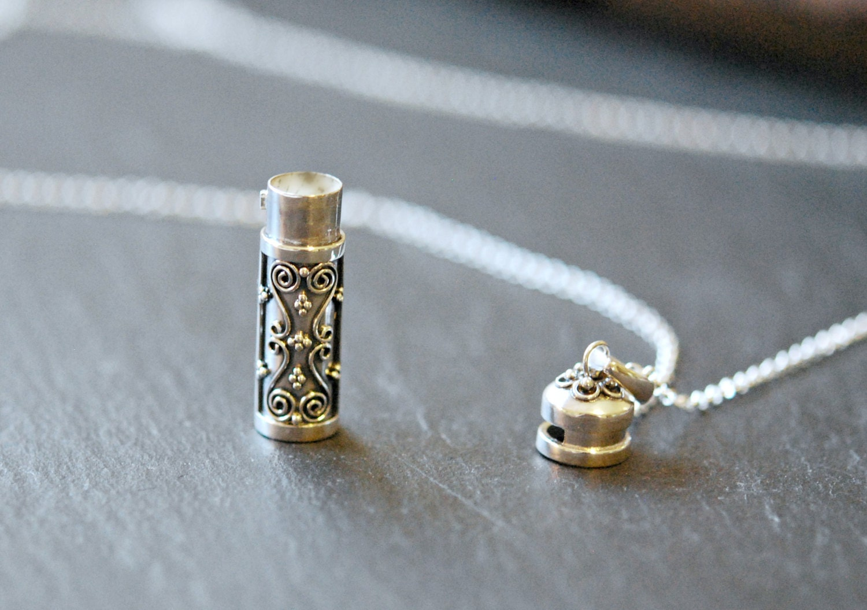 stash necklace sterling silver prayer box pendant snuff