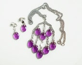 Necklace Earrings Set, Sarah Coventry, Purple Wisteria Chandelier Waterfall Necklace, Matching Clip On Dangle Earrings, Sarah Cov Jewelry