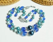 Blue Bead Necklace, Double Strand Bead Choker, Silver Filigree, Vintage Blue Beaded Necklace