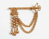 Gold Key Brooch, Victorian Skeleton Key Swag Brooch, Dangle Chains, Highly Decorative Vintage Golden Key Brooch