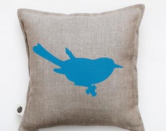 Bird pillow - decorative bird pillow cover - cushion case - throw pillow - bird print on pillow - bird on branch pillow - linen pillow- 0326