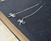 Sterling Silver Dragonfly Earrings, Silver Chain Earrings, Sterling Dragonfly Earrings, Dragonfly Jewelry, Threader Earrings, Long Earrings