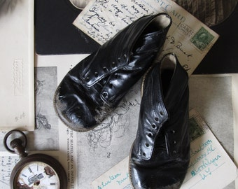 Antique baby shoes, black leather baby shoes