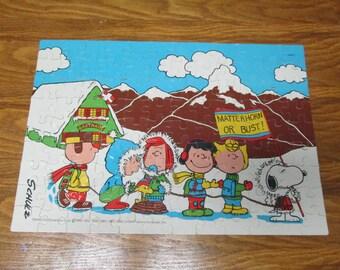Vintage 1966 Milton Bradley Peanuts Puzzle #4382-2 Matterhorn snow Winter Complete