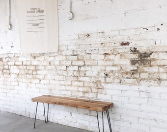 Rustic Industrial Reclaimed Wood Bench with Hairpin Legs