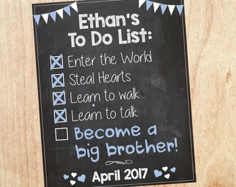 Big Brother Announcement Sign To Do List Checklist PRINTABLE Pregnancy Announcement new baby chalkboard poster