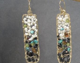Aquamarine, White Branch Coral Earrings Bohemian 180