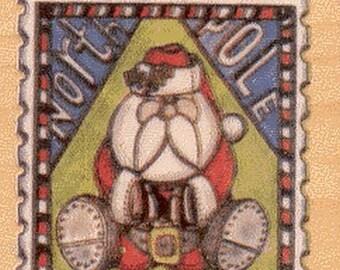 """Stamp Santa Rubber Stamp--1.75"""" X 2.25""""--Hampton"""