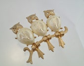 FREE Shipping Vintage 3 Owls on a Branch Brooch Pin Faux Pearl Wise Old Owl