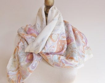 Silk scarf, hand screened, floral silk scarf, ivory silk scarf. pastel square scarf, silver print. hand rolled