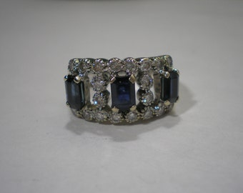 Vintage 18 kt White Gold Diamond Sapphire Band Ring 10 Grams sz 6.5
