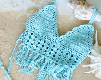 Summer Cropped V Neck Tank, Spaghetti Straps Crochet Cami with Fringes, Aqua Blue
