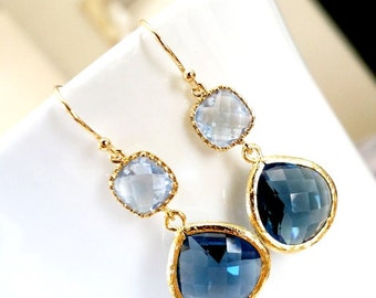 Navy earrings, Sapphire Dangle Earrings, Blue in Blue Sapphire Drop Earrings -Wedding Earrings,bridesmaid gifts,Navy wedding Earrings