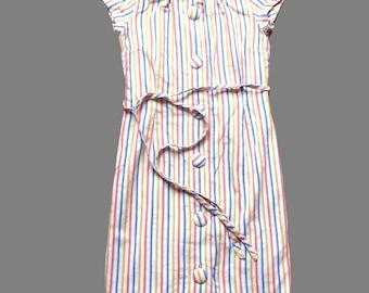 Vintage 60's / 70's Striped Midi Dress UK Size 12