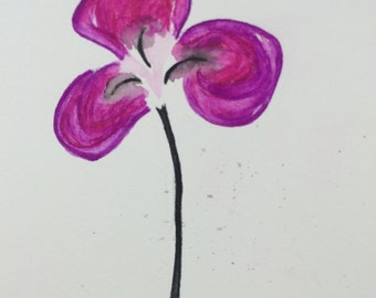 Original Water Color Painting, 6X8, Clover, Purple, Pink, Black, Flower