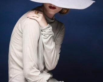Wide Brimmed Fedora Hat , Gray hat , Fur felt fedora hat ,  fur felt hat ,  Womens hat , Winter hats , Grey Fur Fedora Hat