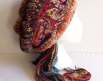 Knit Grateful Dead Hat - Slouchy Free form colorful Striped Beanie with Maroon Paisley 13 Point Bolt Applique