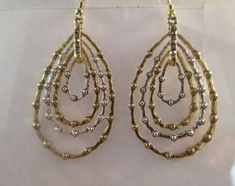 4 Layer Teardrop Hoop Earrings in Gold and Silver