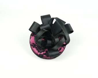 Pillbox Hat Fascinator Headpiece in Pink Lace with Satin Black Flower Bow - Wedding, Occasion, Cocktail Hat Hen Night