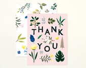 Assorted Botanical Thank You Card - Pink