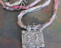 Antique Indian Silver Ganesh & Lakshmi Amulet on Sari Silk and Box Chain