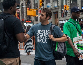 T-shirt Jesus Saves Bro Unisex Adult Cotton Christian Church Tshirt Gift for Him or Her #3077