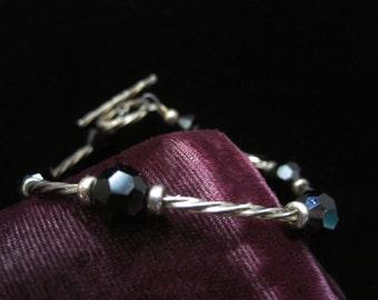 Sterling Jet Bracelet Toggle 925 Vintage Silver Black Crystals Glass Jet Beads Beaded