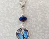 Blue Butterfly Kisses, Lobster Clasp, Knitting Crochet Progress Marker, Bracelet Charm, Zipper Charm, BBKL-1