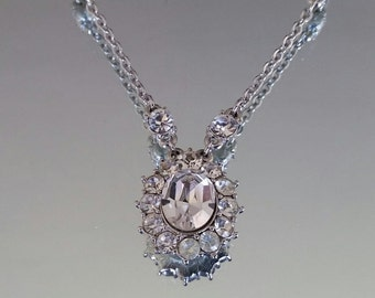 Silver tone clear stone pendant necklace / costume jewelry / evening wear / wedding