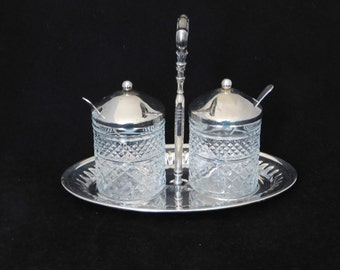 Jelly Jam Condiment Set, Glass Jars Stainless Lids and Carrier, Silverplate Spoons Silver Plate  Diamond pattern glass