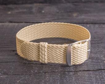 Beige perlon strap ( 18mm ) waterproof nylon strap, watch strap, watch band, perlon band