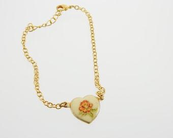 60s Rose Heart Bracelet