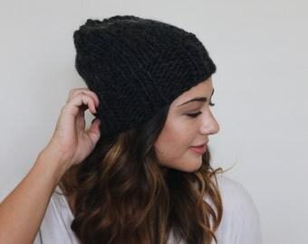 Slouchy Winter Hat // The Blair in Dark, Soft Grey