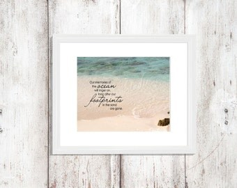"Beach Saying Quote ""Our Memories of the Ocean will linger on..."" Beach Ocean Sand Blue Water Photo Beach Chic Wall Decor"