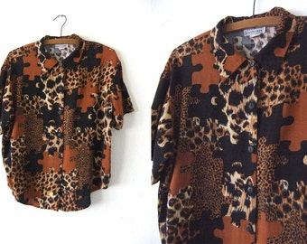 Leopard Print Puzzle Pieces Button Down - Abstract Safari Print Baggy Flowy 90s Hip Hop Short Sleeve Button Down Blouse - Womens Large