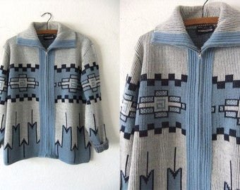 Sky Blue Cowichan Sweater - 70s Boho Hippie Style Native American Zip Up Fair Isle Sweater - Womens Large