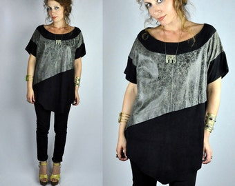 LEATHER Top - Leather Tunic - Leather Blouse - Oversized Distressed Asymmetrical - Supple Leather - Minimalist Two Tones Leather  S - M